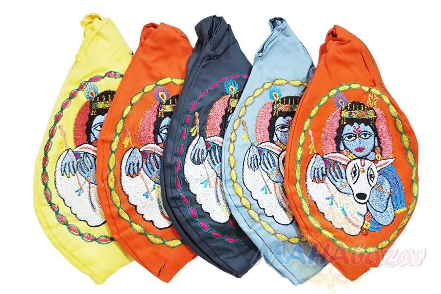 "Фото 8268: Набор из 5 мешочков для четок с вышивкой 26х13 см. каждый, производитель ""МАХАбазар.ру"", Set of 5 japa mala bags with embroidery , 26х13 cm. each MAHAbazar.ru"
