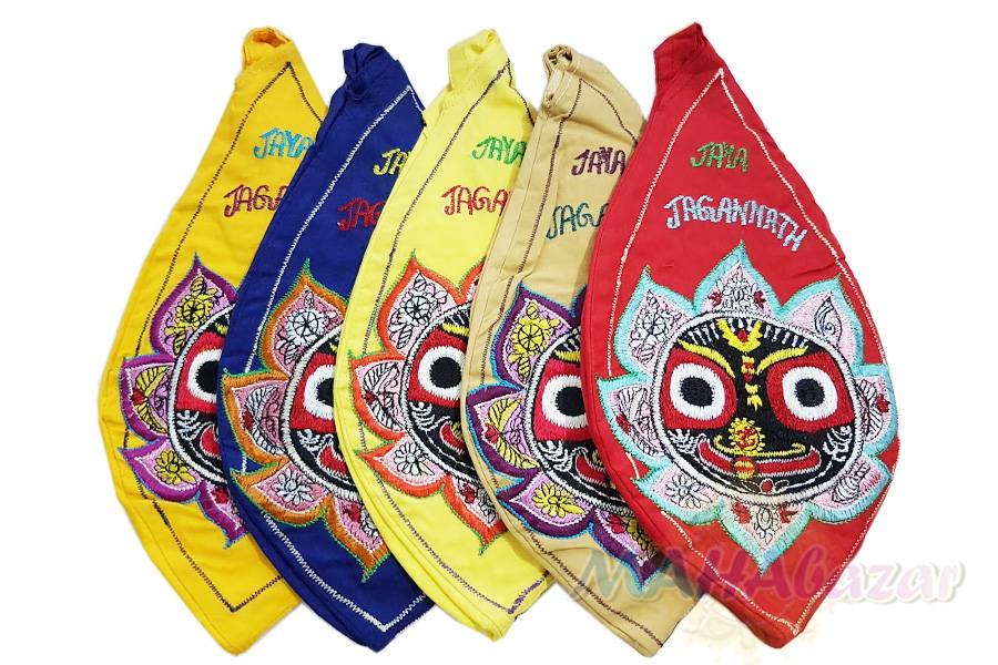 "Фото 5565: Набор из 5 мешочков для четок ""Джаганнат"" 26х13 см. каждый, производитель ""МАХАбазар.ру"", Set of 5 japa mala bags Jagannath , 26х13 sm. each MAHAbazar.ru"
