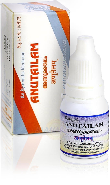 Анутайлам, капли для носа и ушей, 10 мл, производитель Коттаккал Аюрведа; Anutailam, 10 ml, Kottakkal Ayurveda