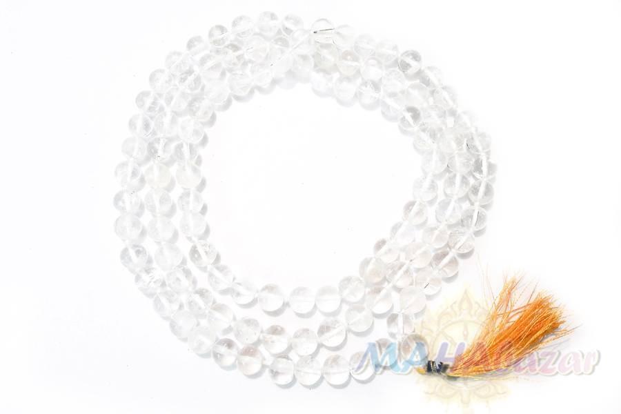 "Фото 1415: Четки из горного хрусталя 108 бусин, 7 мм, производитель ""МАХАбазар.ру"", Rock Crystal japa mala 108 beads, 7 mm, MAHAbazar.ru"