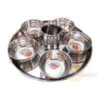 Фото 6613: Большой набор для Предложения Бхоги из нержавеющей стали, 1 поднос, 5 чаш, 1 стакан, 1 ложка, производитель МАХАбазар.ру, Big Stainless Steel Bhoga Set, 1 salver, 5 bowls, 1 glass, 1 spoon,  MAHAbazar.ru